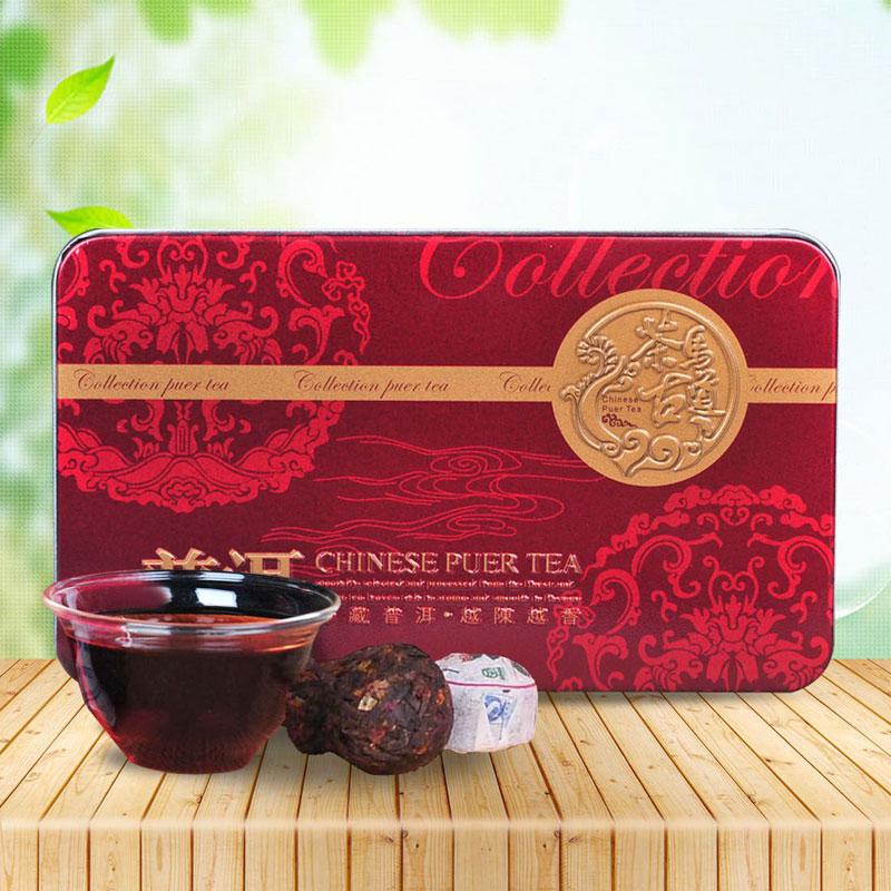 【一品堂】玫瑰小沱普洱熟茶铁盒装75g*2_0