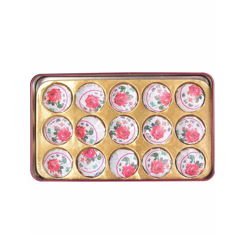 【一品堂】玫瑰小沱普洱熟茶铁盒装75g*2_1