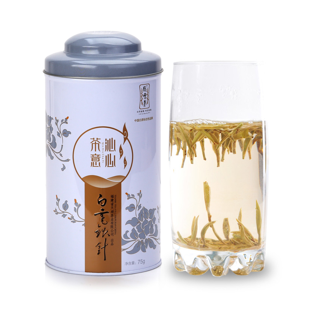 【绿雪芽】白毫银针有机白茶铁罐青花盒75g1_0