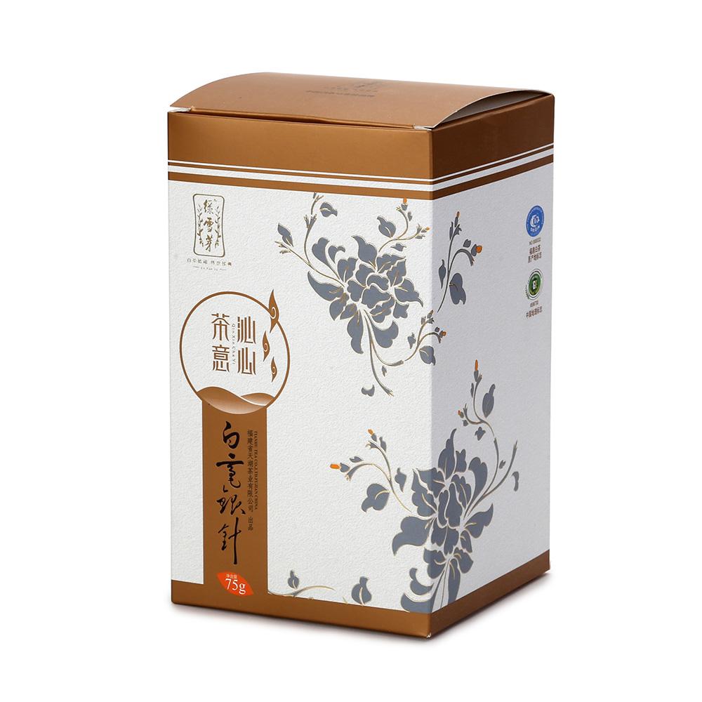 【绿雪芽】白毫银针有机白茶铁罐青花盒75g2_1