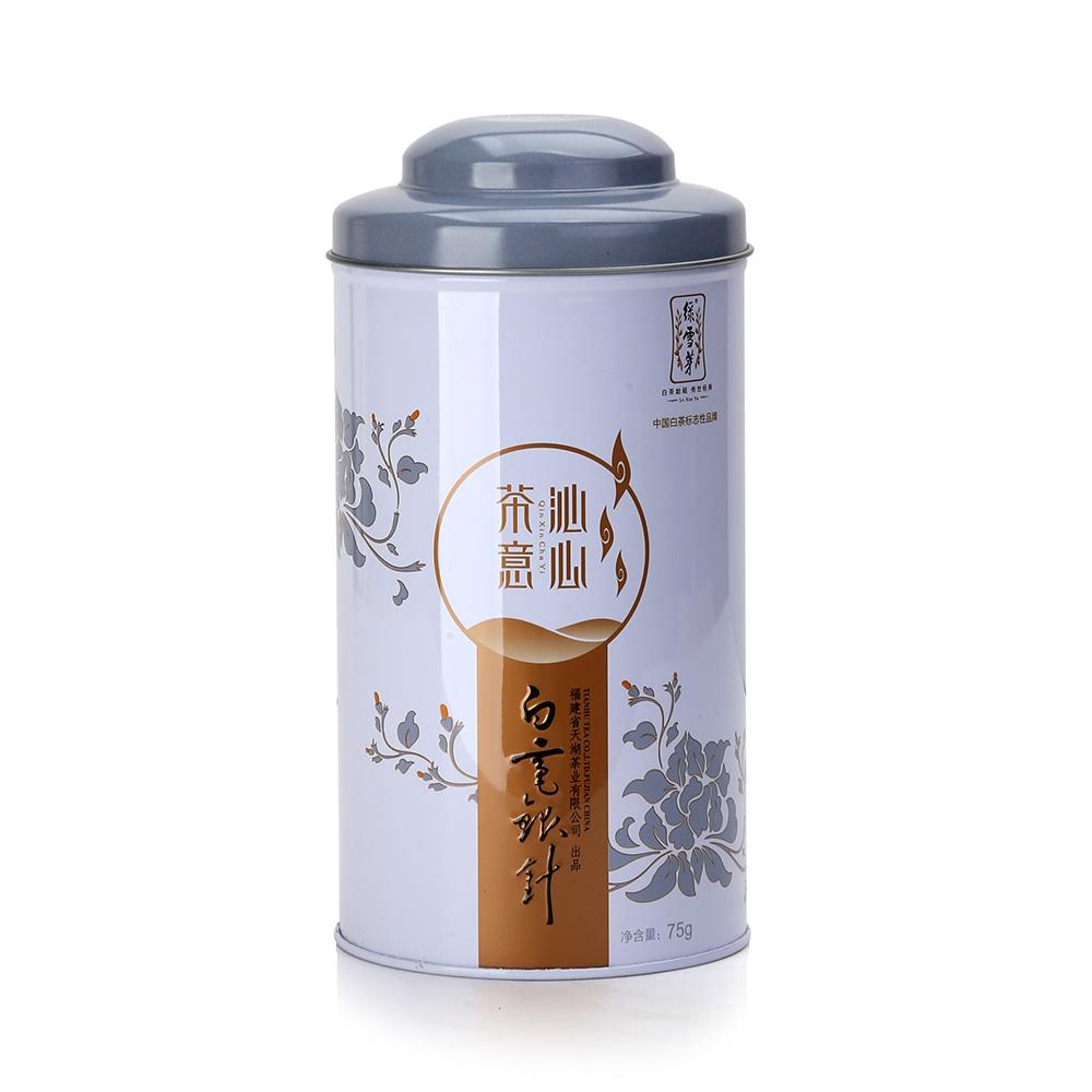 【绿雪芽】白毫银针有机白茶铁罐青花盒75g3_2