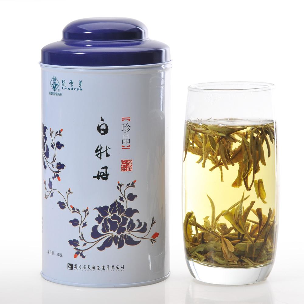 【绿雪芽】极品白牡丹有机白茶青花罐75g1_0