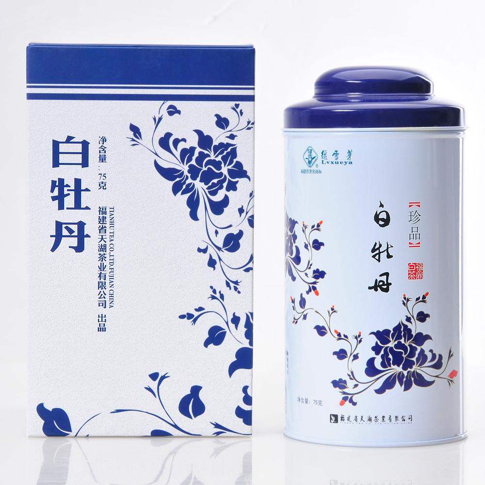 【绿雪芽】极品白牡丹有机白茶青花罐75g2_1