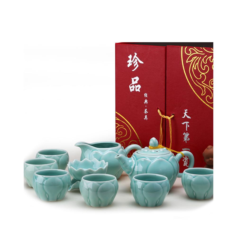【宏远达】德化青瓷莲花瓣茶具10件套精美礼盒1_0