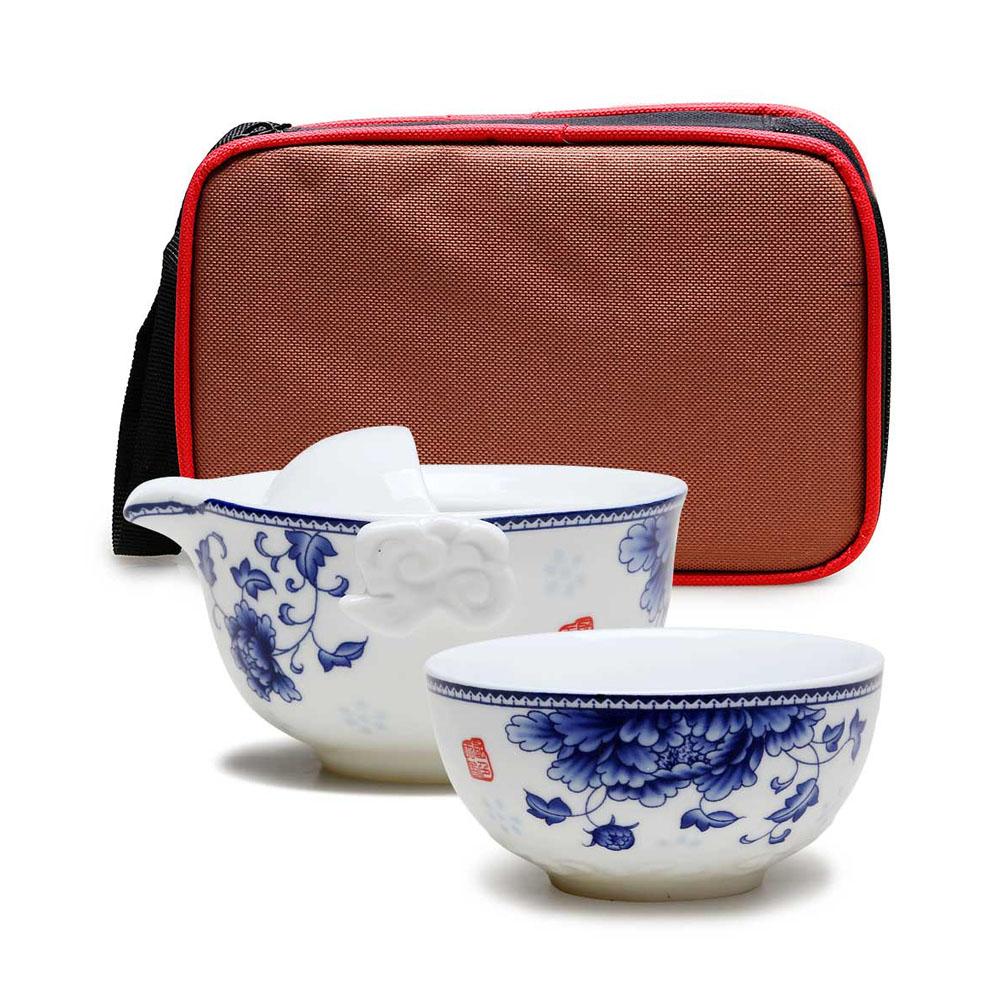 【德化陶瓷】随身自带 高白青花快客杯之精致自用茶具1_0