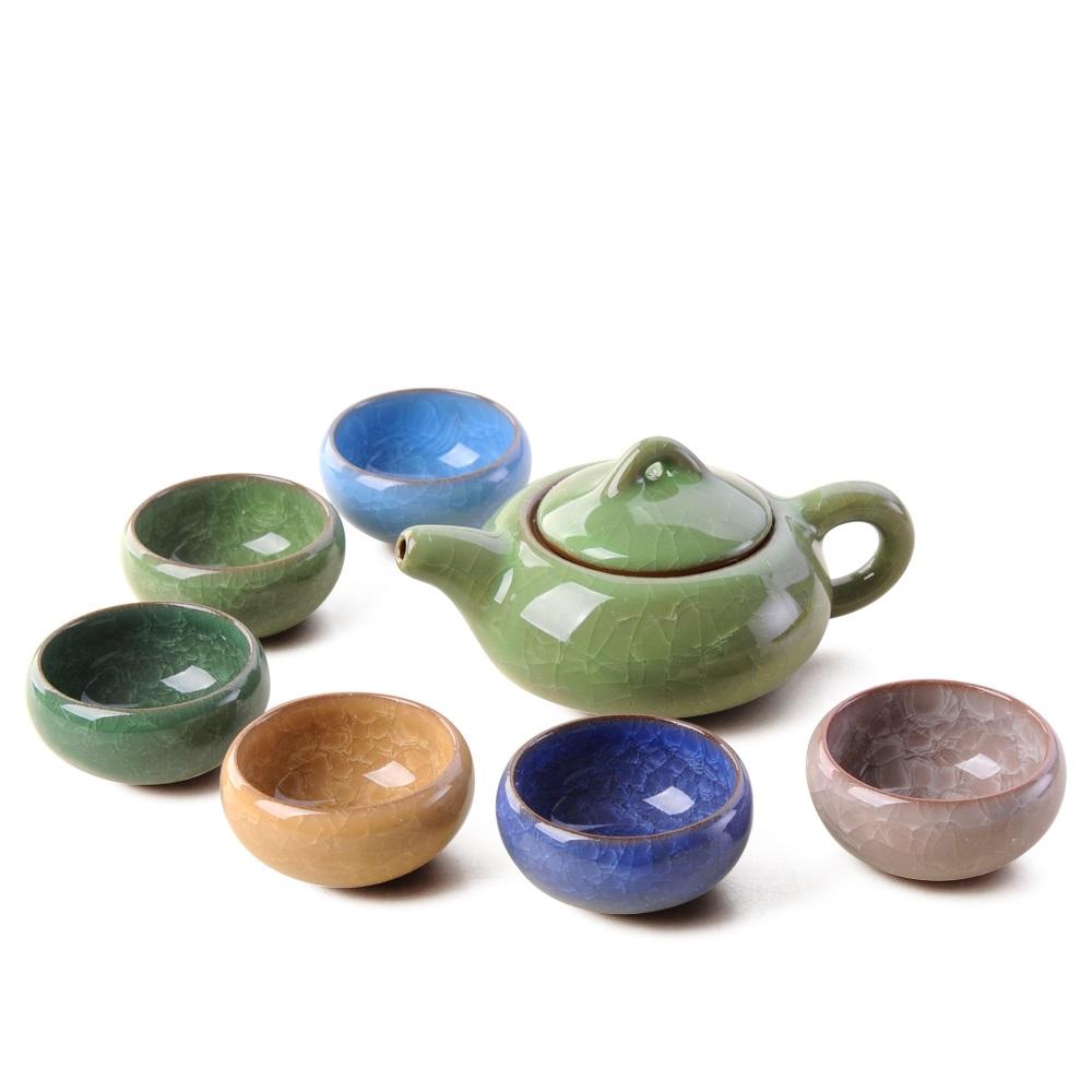 【宏远达】德化陶瓷茶具 七色光冰裂釉经典茶具组8入礼盒装0_0