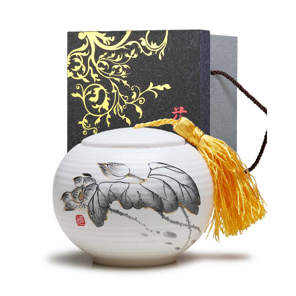 【德化陶瓷】亚光白荷花平盖茶叶罐1_0