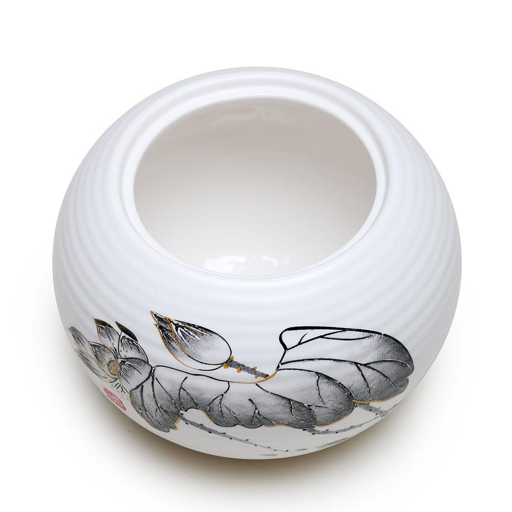 【德化陶瓷】亚光白荷花平盖茶叶罐4_3