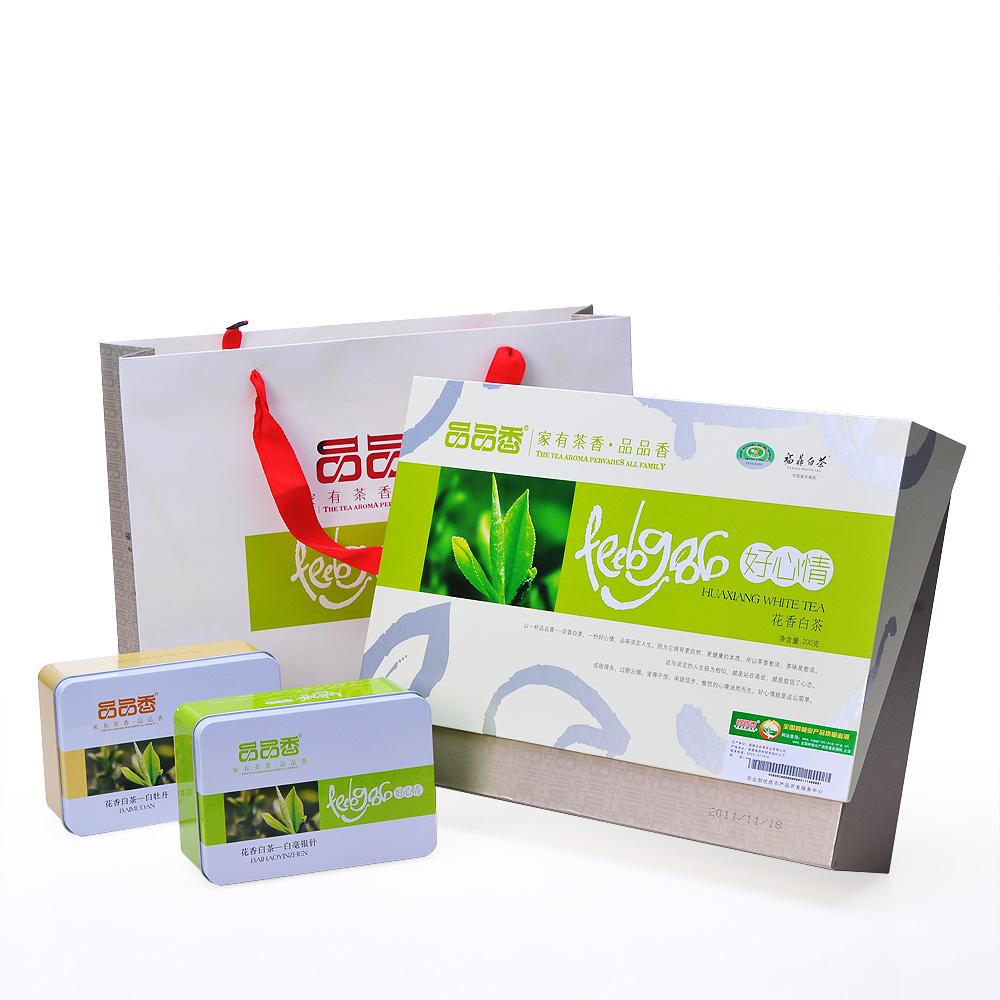 【品品香】福鼎特级好心情花香有机白茶 白牡丹礼盒 4盒装 200g