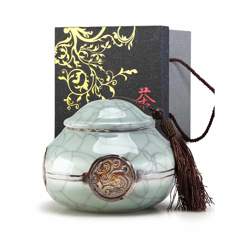 【德化陶瓷】经典哥窑龙罐之品质茶叶罐1_0
