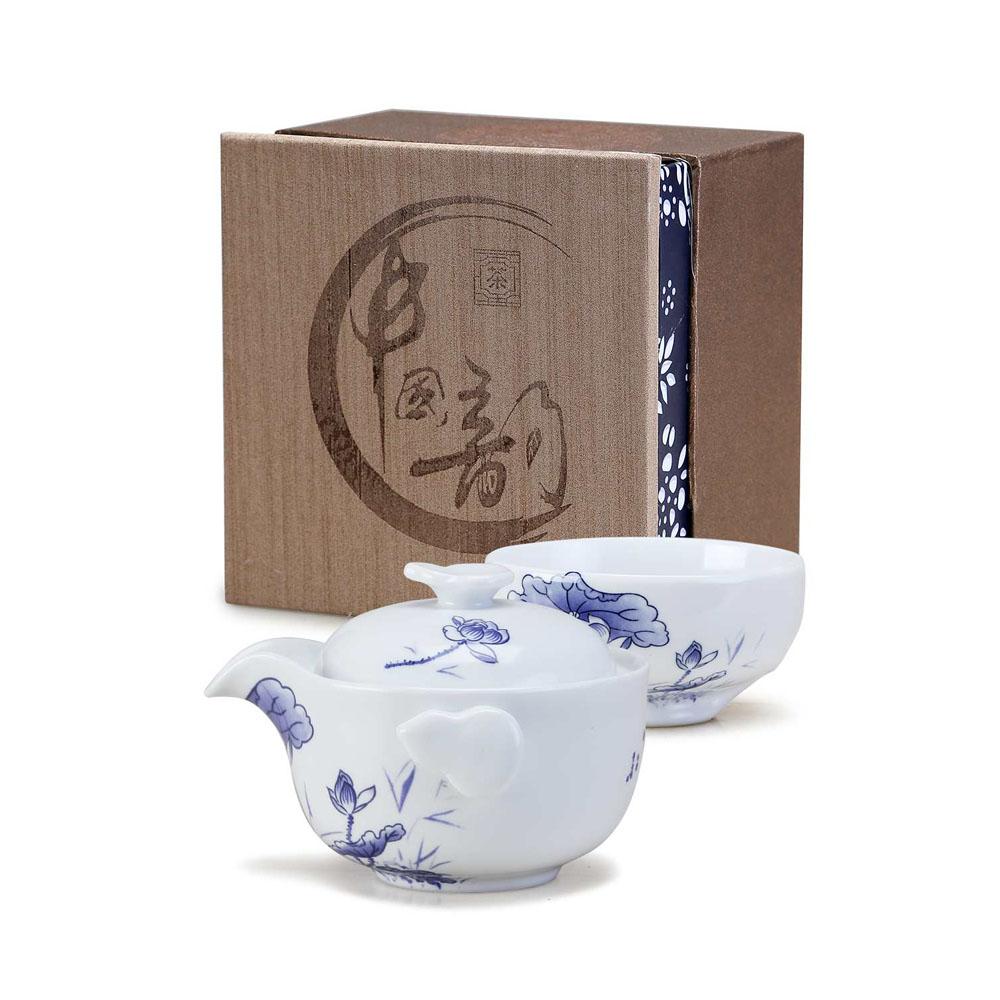 【德化陶瓷】亚光白青花快客杯之精致自用茶具1_0