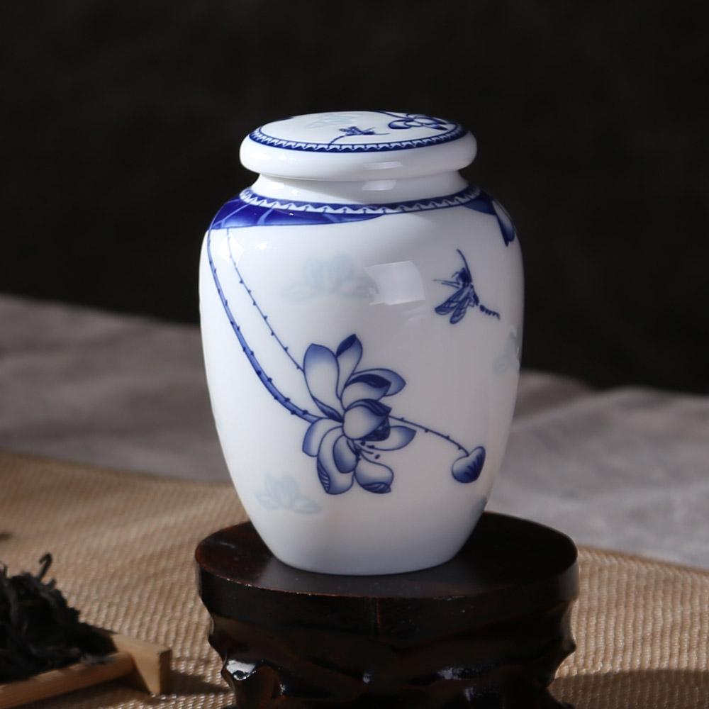 【恒越】正品 德化陶瓷茶具 陶瓷茶叶罐 兰荷之舞经典青花2#茶叶罐5_4